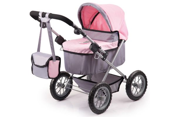 Trendy soft grey and pink poppenwagen.
